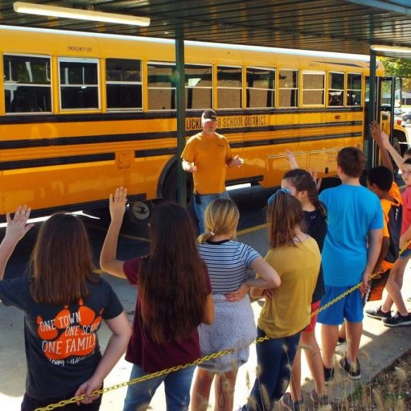 Photo by Christy Porter Licking R-VIII Transportation Director Tony Huff reviews safety rules and procedures with Ms. Medlock's sixth grade class on Thursday as part of National School Bus Safety Week.